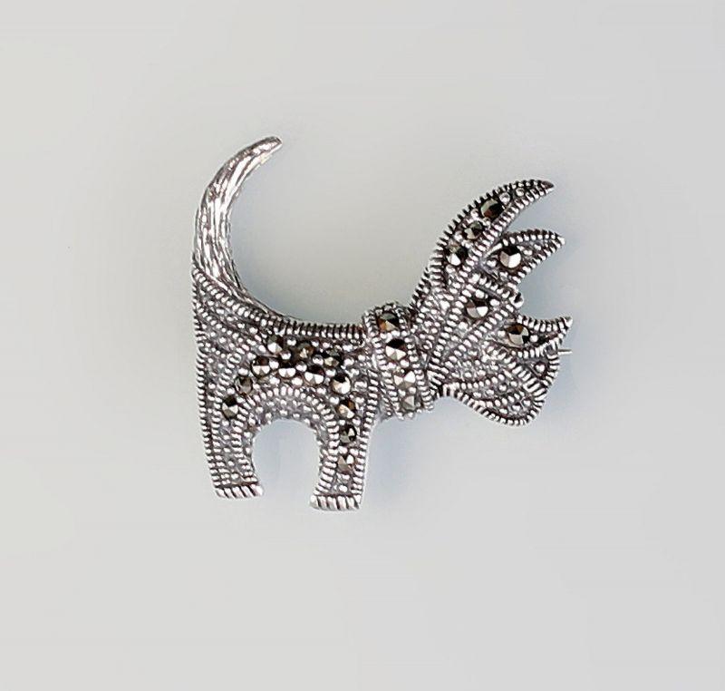 925er Silber Brosche Hund Markasiten  9927528
