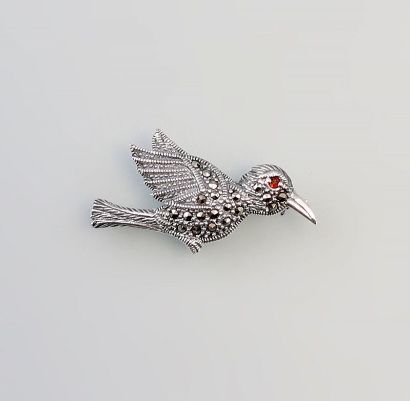 925er Silber Brosche Vogel Granat  Markasiten  9927526