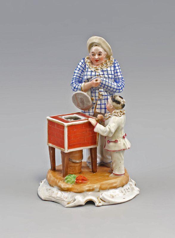 99840388 Porzellan Scherzfigur Pierrot und Pierrette 19. Jh.