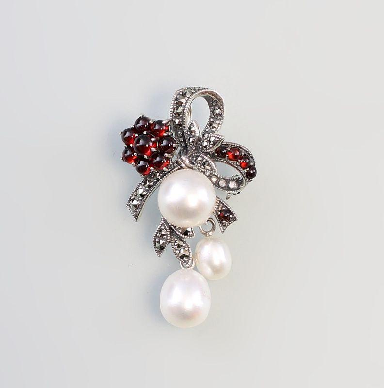 925er Silber Brosche Markasiten Granat Perlen 9927522