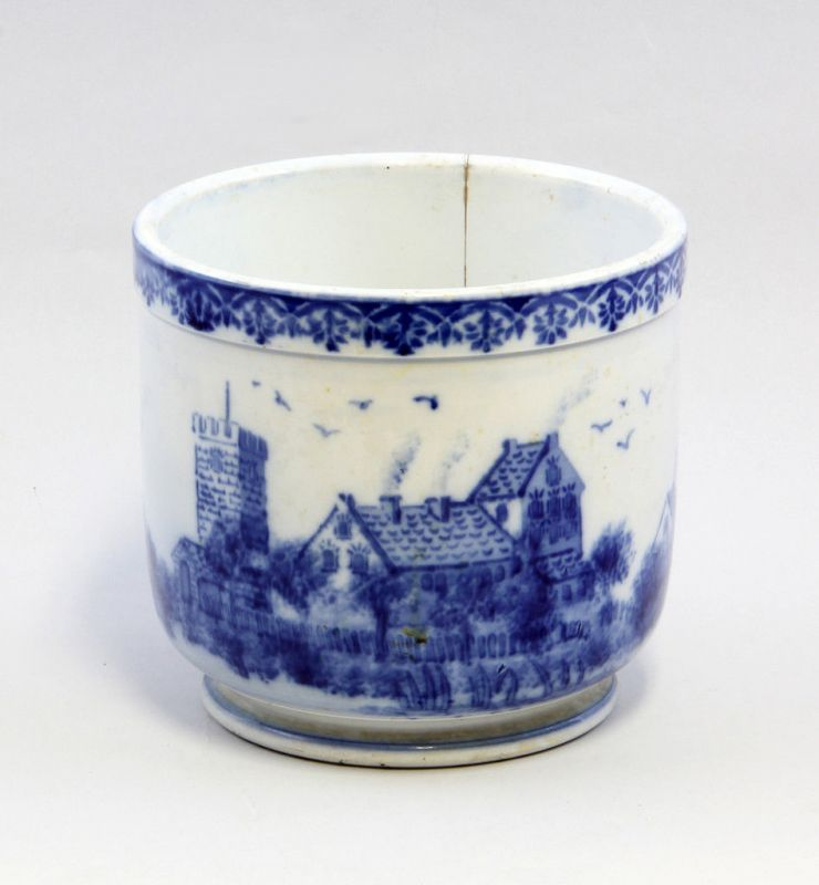 Keramik Blumentopf Blaudekor Dorfansicht 99845082