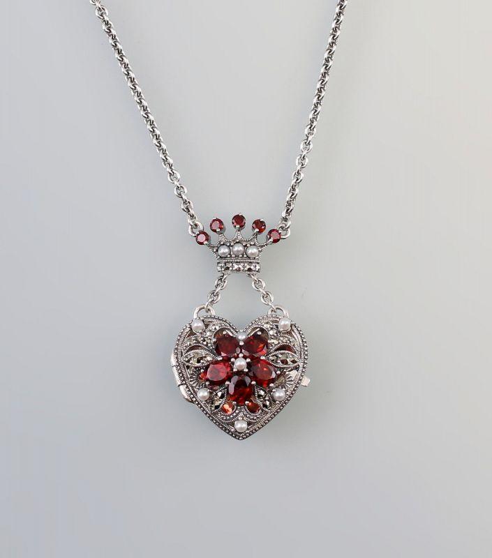 925er SilberKette mit Herz Medaillon-Anhänger Markasiten Granat 9927539