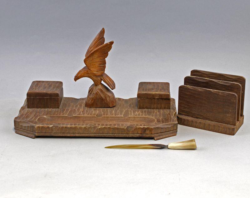 8170004 Jagdliche Schreibgarnitur Adler Schreibtischablage