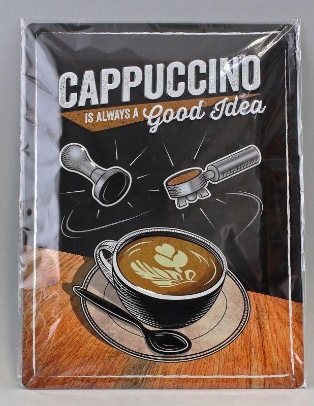 9974048 Reklame Blechschild Cappuccino Good Idea 30x40cm