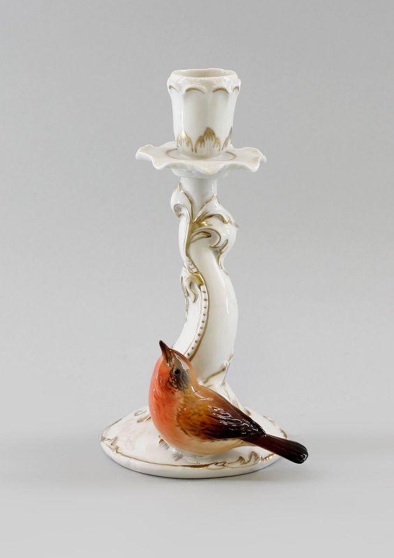 Porzellan Figur Leuchter mit Rotkehlchen Vogel Ens H18cm 9997338#