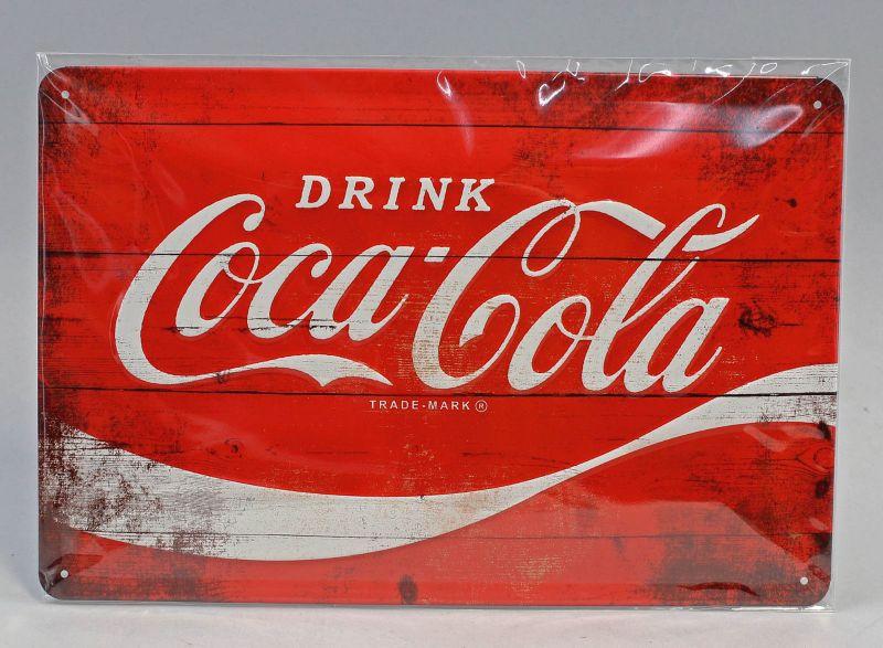 9974038 Reklame Blechschild Coca-Cola Logo Red Wave 20x30cm