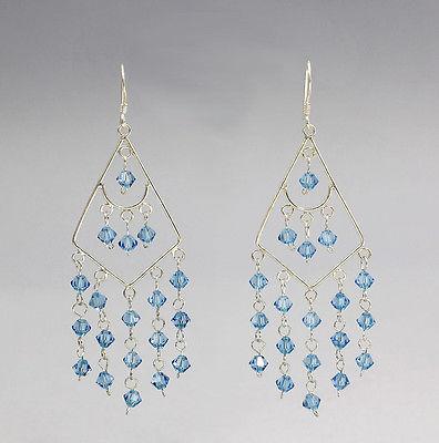 925er Silber Ohrhänger mit hellblauen Steinen 9902132