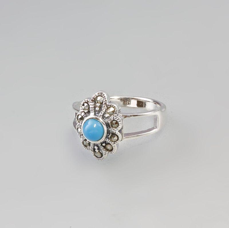Blütenförmiger Markasit Ring mit türkisfarbenem Stein 925er Silber 9927374