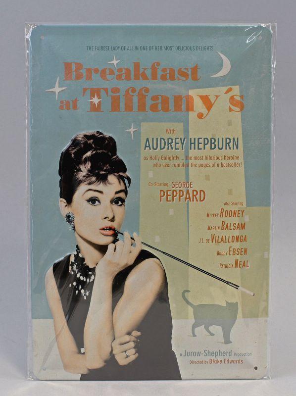 9974035 Reklame Blechschild Breakfast at Tiffany`s Blue 20x30cm