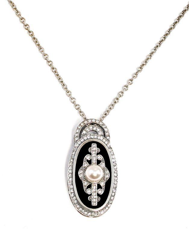 925er Silber Art déco-Anhänger an Kette mit Onyx u. Swarovski-Steinen 9901653