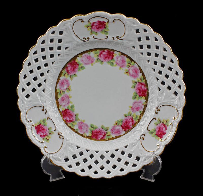 Porzellan Durchbruch-Teller Rosen zu Tausendschön Kämmer D27,5cm 9988131