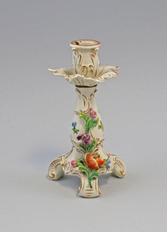 99840009 Porzellan-Leuchter Potschappel Dresden Blumenauflage H16,5cm