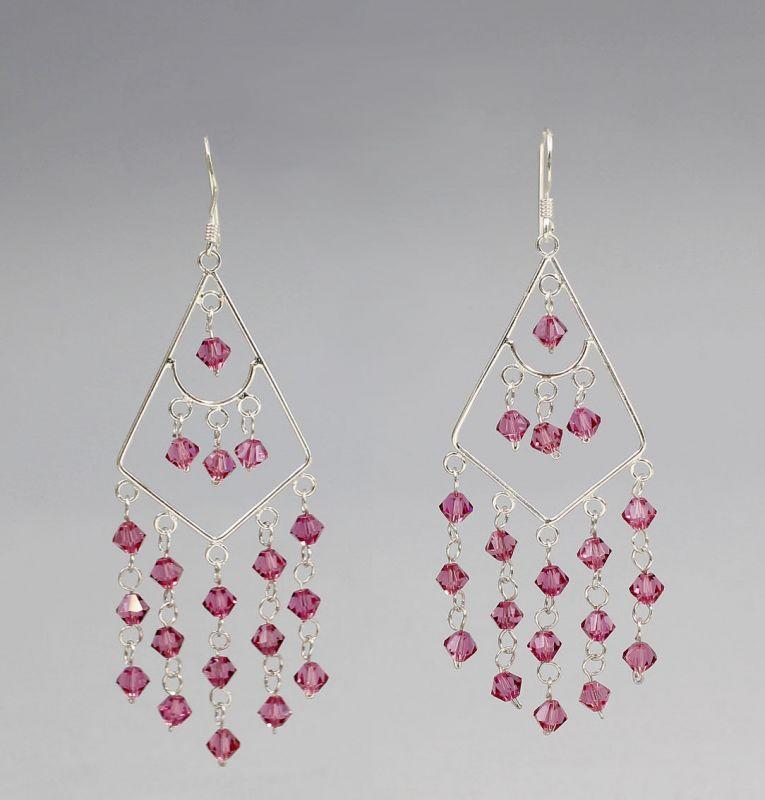 925er Silber Ohrhänger mit rosa Steinen 9902134