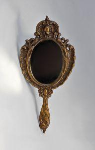 Handspiegel Historismus Metall brüniert mit Ornamenten  NEU 9977204