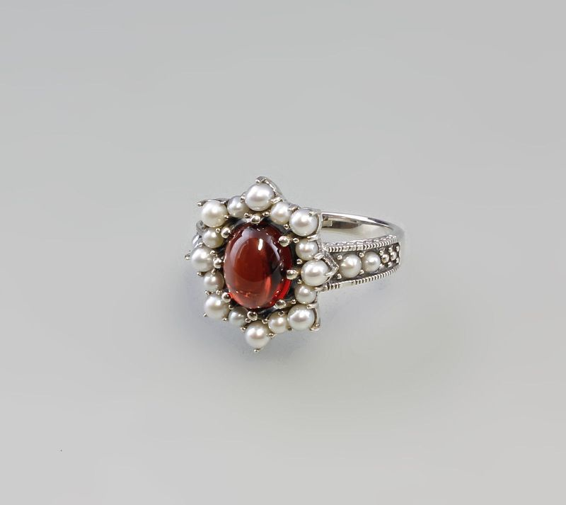 Granat Perlen Ring 925er Silber 9927436