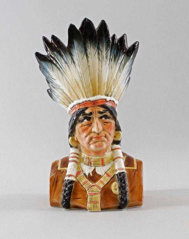 9941775 Porzellan Figur Pfeifenhalter Vase Indianer Ens H26cm