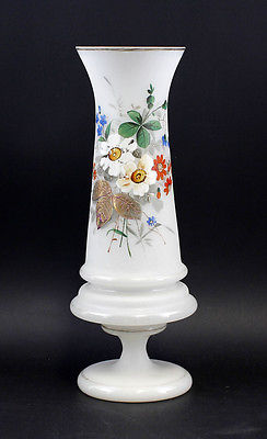 Vase Spätbiedermeier mundgeblasenes Glas farbiges Blumen-Dekor 99835263