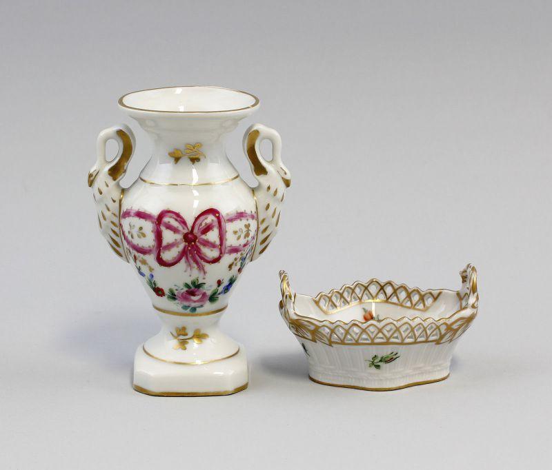 Vase und Körbchen Potschappel, Dresden Sachsen ab 1901 99840152