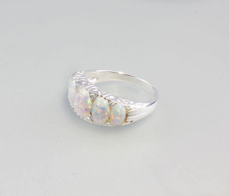 925er Silber Ring mit synthetischem Opal Gr.59 9907147
