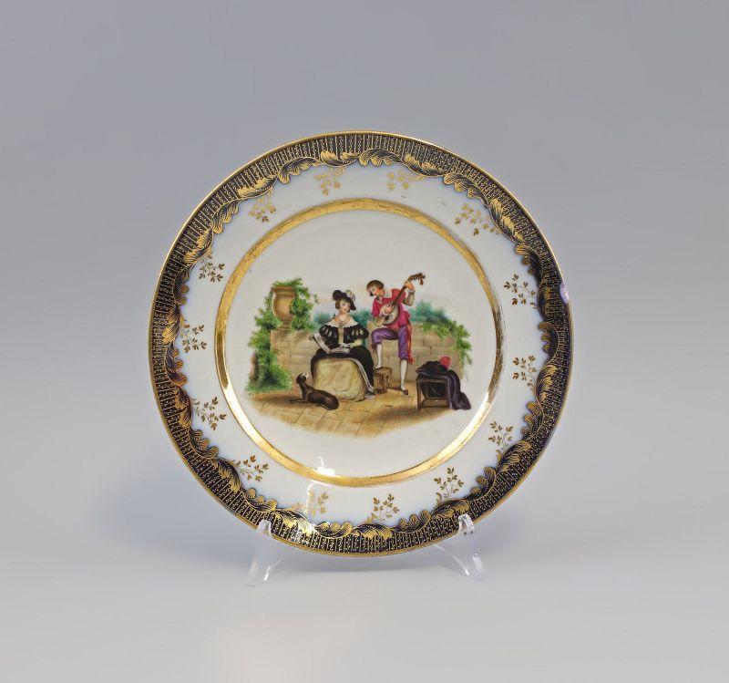 7940072 Porzellan Bildteller Liebeleiszene 19. Jh. handbemalt