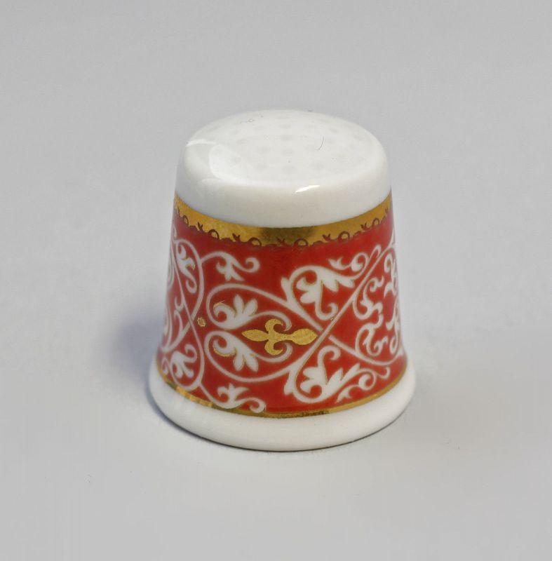 Kämmer Porzellan Fingerhut Blume Ornament gold/rot 2,5x2,6cm 9988226