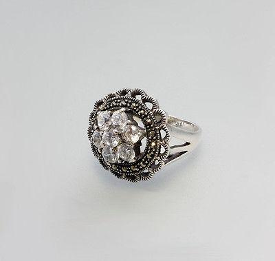 925er Silber Floraler Silber-Ring mit farblosen Zirkonia  Gr. 54  Neu  9907079
