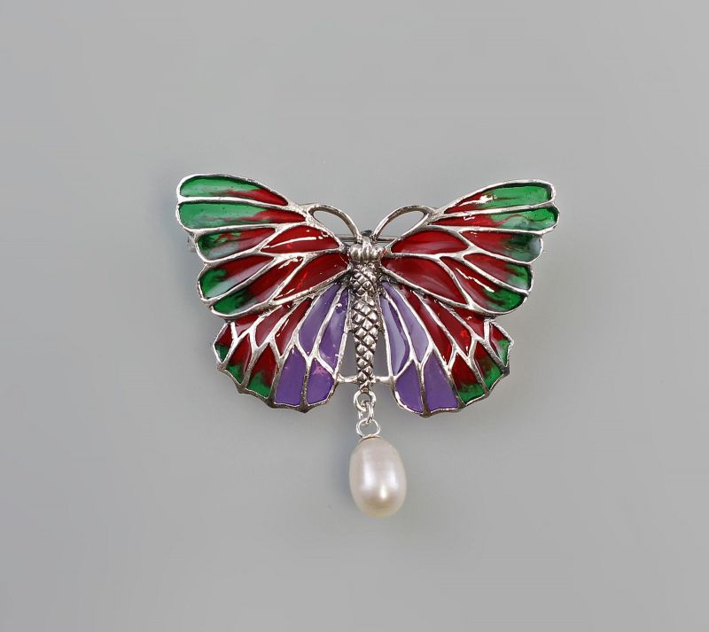 925er Silber modische Perlen-Brosche / Anhänger Schmetterling  9907242