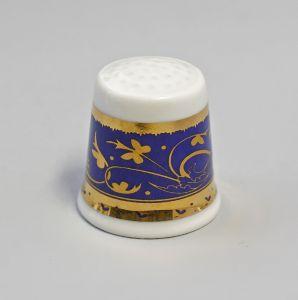 Kämmer Porzellan Fingerhut Blume Ornament gold/blau 2,5x2,6cm 9988219