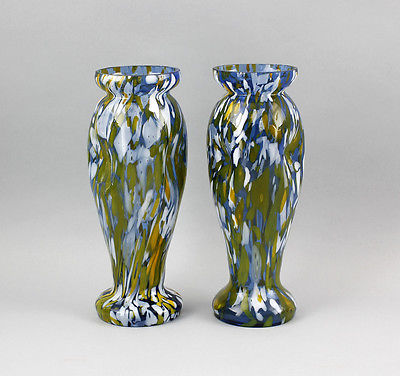 Vasen-Paar Jugendstil  bunte Einschmelzungen 99835287