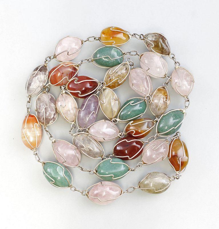 Lange Steinkette L 104 cm Rosenquarz Jade Amethyst Karneol und Achat 99825422