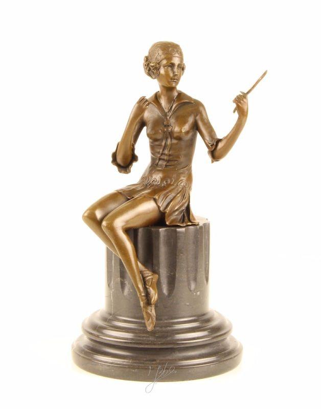 Bronze Skulptur junge Frau mit Spiegel sitzend neu 9973380-dssp