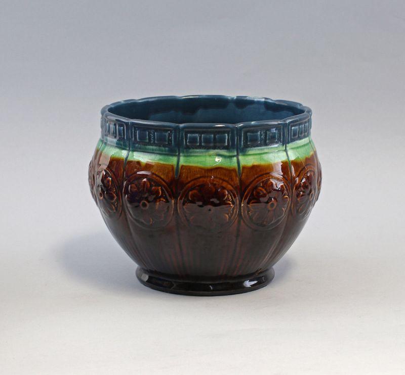 7945003 Keramik Majolika Blumentopf Cachepot Jugendstil Laufglasur