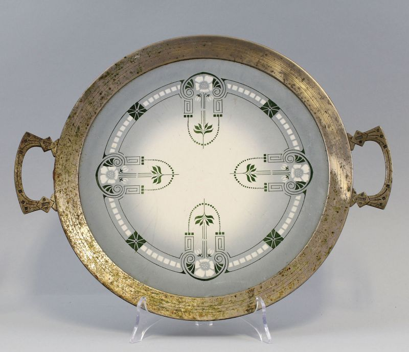 99845535 Keramik Torten-Platte Jugendstil Metallmontierung um 1900/20