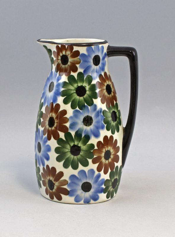 99845286 Keramik Kakao Kanne Blumendekor 50er Jahre