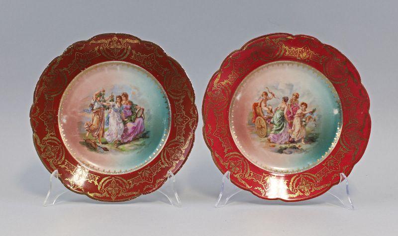 99840442 Paar Zier- Teller Watteauszene Böhmen um 1900 D24,5cm