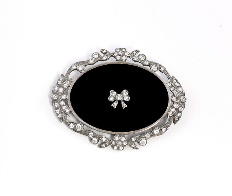 925er Silber Jugendstil Brosche mit Onyx u. Swarovski-Steinen Schleife 9901542