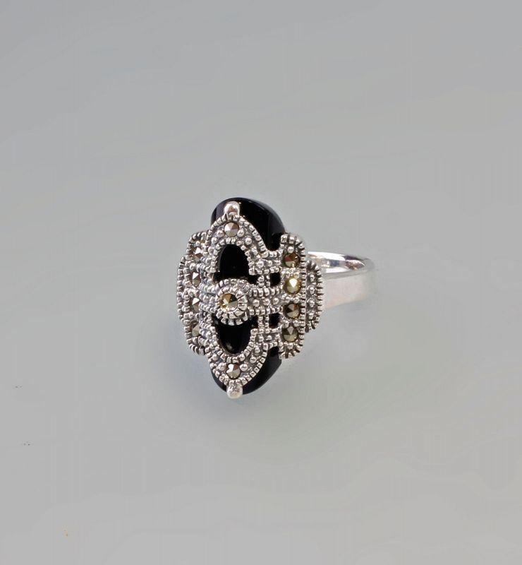 9927432 925er Silber Onyx-Markasit-Ring Art deco Gr.56