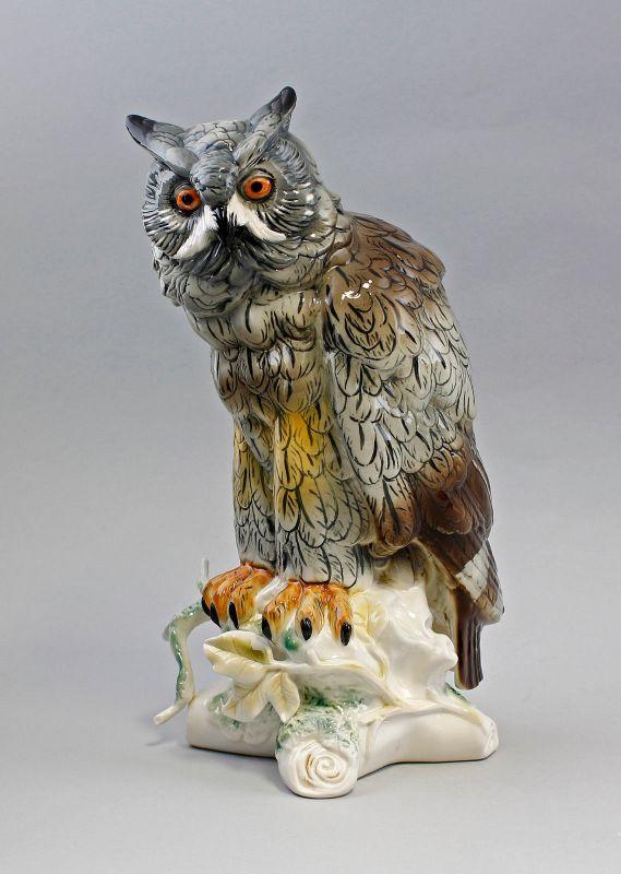 Porzellan Figur große Eule Uhu Vogel Ens H34m 9941614#