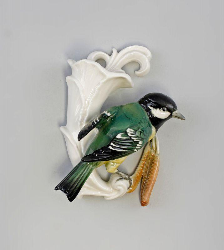 Porzellan Figur Wandvase Kohlmeise Vogel Ens H13,5cm 9941632#