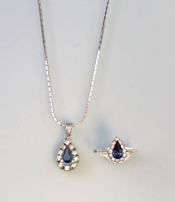 8125191 Garnitur Anhänger und Ring mit blauem Stein 925er Silber Ring Gr.57