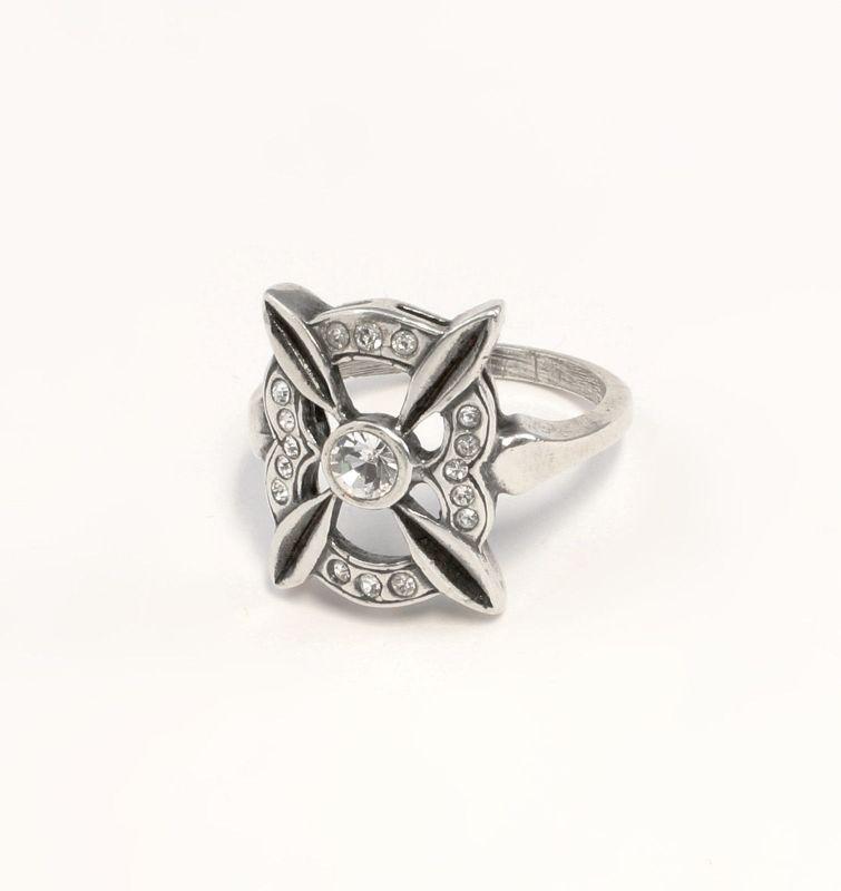 925er Silber Ring mit Swarovski-Steinen Gr. 51 9901408