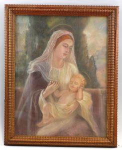 Aquarell Pastellkreide Porträt Madonna Muttergottes Maria und Jesus 99869023