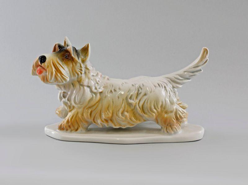 Ens Porzellan Figur Terrier gefleckt hebt Pfote Hund 23x11x15cm 9997156#