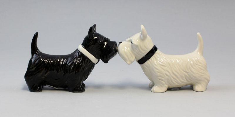 9976031 Salz/Pfeffer Streuer Scottish Terrier Hund Keramik H8cm