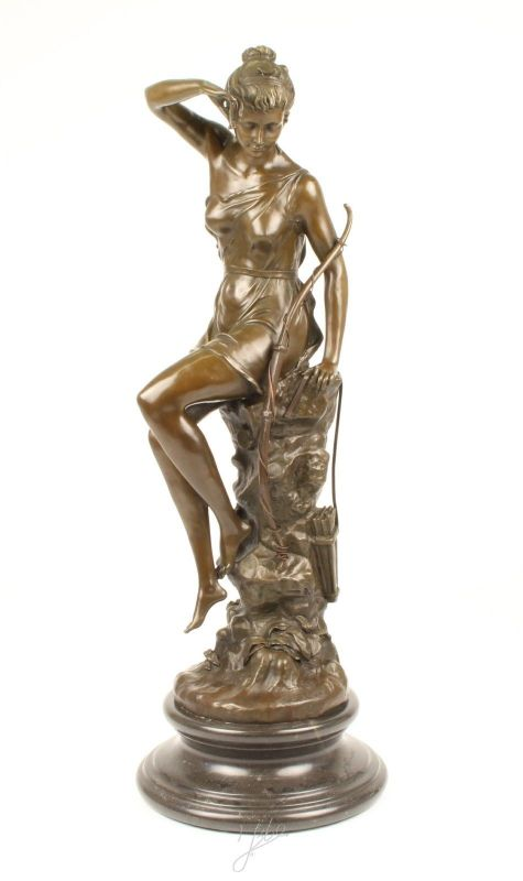 Bronze Skulptur Diana Göttin der Jagd sitzend neu 9973370-dssp