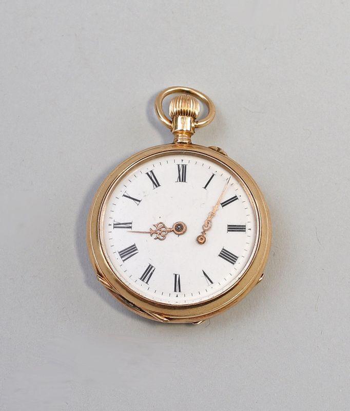 8220014 Goldene Damen-Taschenuhr um 1890 585er Gold