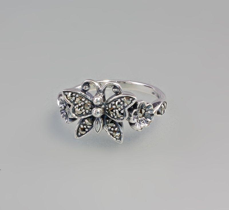 925er Silber Ring mit Markasiten und Schmetterling Gr. 52 9903062