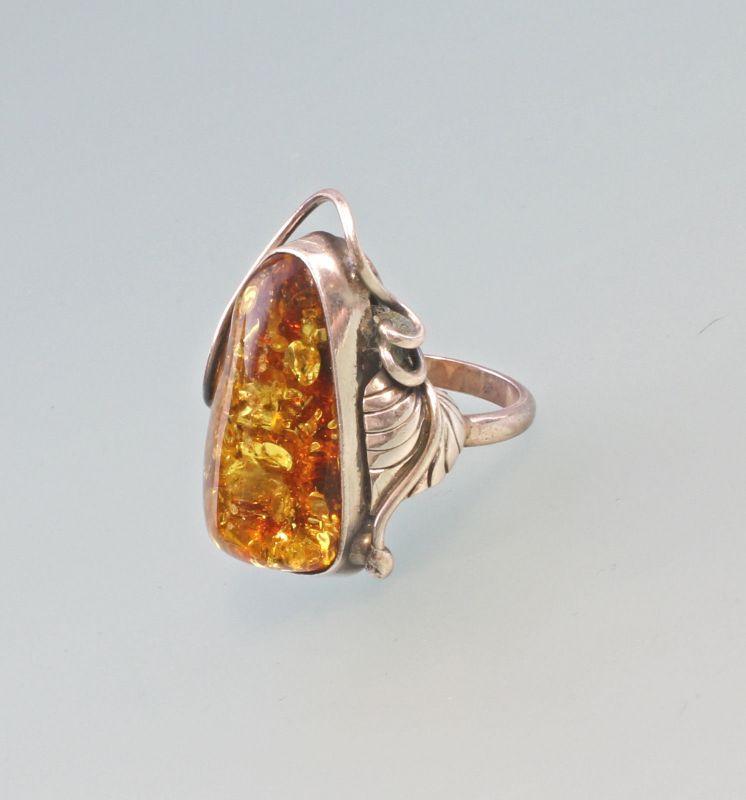 8225031 Bernstein-Ring 925er Silber Handarbeit Gr.57