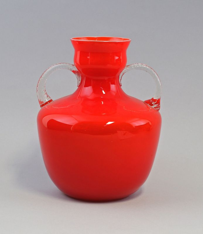 8235013 Opalglas Vase Murano Vetri Gino Cenedese um 1965 Amphore