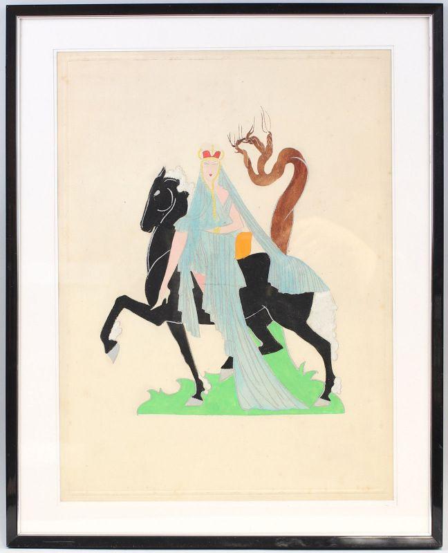 8263016 Tempera Zeichnung Reitende Königin Frau auf Pferd
